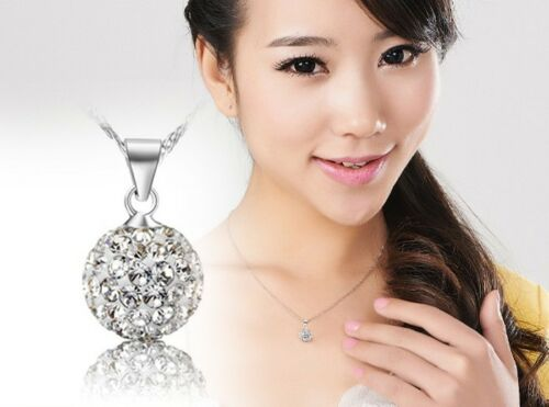 fashion Women's 925Sterling Silver  chain crystal rhinestone Necklace Pendant