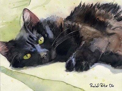 Giclee Black Cat  Art Print of a Painting long hair longhair portrait custom
