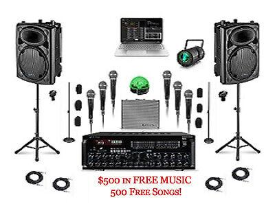 KARAOKE DJ SYSTEM Computer LAPTOP SOFTWARE PROFESSIONAL MIXER 6 MICS LIGHTING