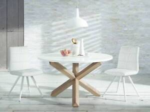 Superb Nori Round Oak White Top Dining Table - NEW