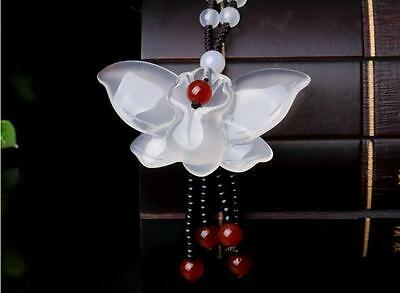 100/% Chinese natural hand-carved white jade butterfly pendant necklace