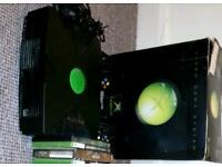 Original xbox with box and wires
