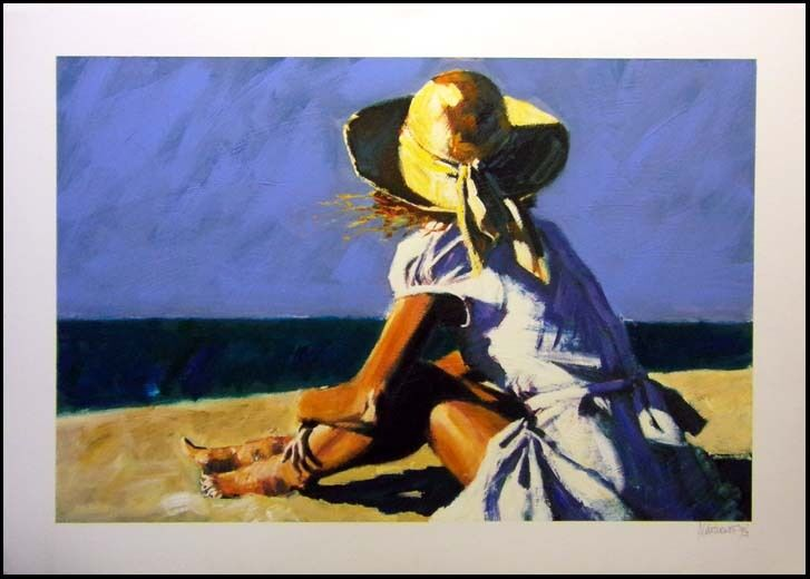 "Aldo Luongo ""sunny"" Giclee Art Hand Signed Seascape Summer Blue Submit Offer"