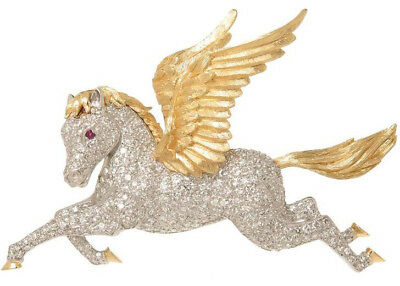 6.34CT NATURAL DIAMOND RUBY 14K SOLID YELLOW GOLD PEGASUS HORSE BROOCH