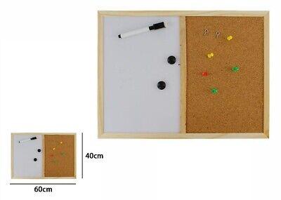 Lavagna Magnetica 2in1 Bacheca In Sughero Cornice Legno 40x60cm Appunti Foto dfh