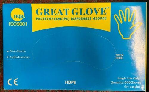 Great Glove Polyethylene PE Non-Reusable Gloves. 500 Pcs. Size L
