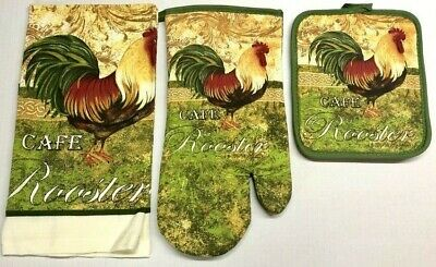 Rooster Pot - 3 pc Kitchen Dish Hand Towel Pot Holder Oven Mitt Set Home Cotton Cafe Rooster