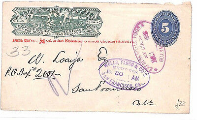 AR133 1888 MEXICO EXPRESS *Wells Fargo* Postal Stationery Cover San Francisco