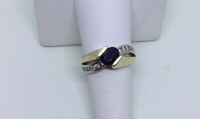Sapphire Diamond Ring Cathedral Tension Set Oval Blue 14 Karat Yellow Gold