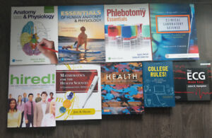 Health science books (anatomy, phlebotomy, physiology, ecg)