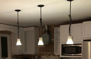 Ensemble luminaires cuisine lustre + 3 suspensions