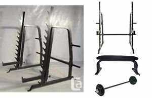 Nortthern Light Commercial Squat Rack + Bench + Weights + Bar