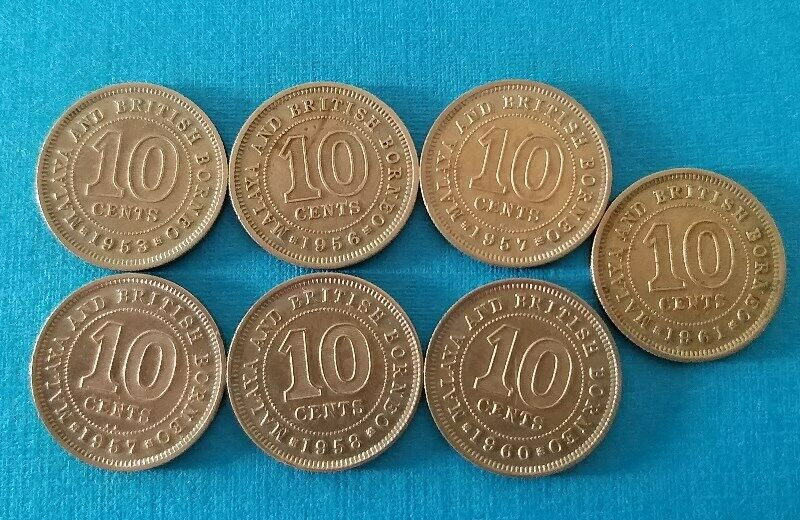 Malaya Commissioners of Currency Queen Elizabeth II 10 Cent Coins Year 1953 to 1961, 7 FINE Coins