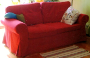 SOFA CAUSEUSE DEUX PLACES ROUGE