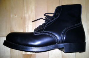 Black Leather MEN'S WINTER BOOTS. Steel Toed, Size 10-11, New!