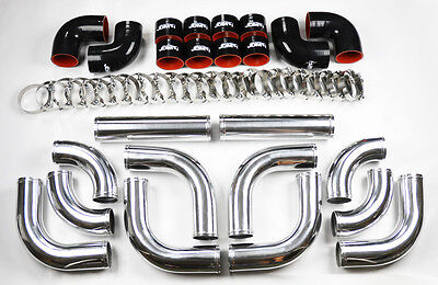 """Universal High Quality 2.5"""" Polished Intercooler 12pc Piping Kit Aluminum"""