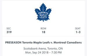 PRESEASON  Toronto Maple Leafs Vs. Montreal Canadies