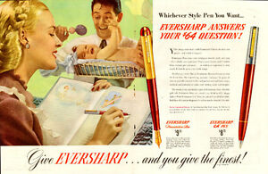 1949 2-page color magazine ad for Eversharp Pens