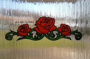 Red Rose vine window cling, stained glass effect mirror, tile sticker