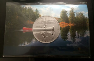 2011 Canada $20 Canoe Fine Silver Coin - New Sealed with card