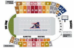 MONTREAL ALOUETTES-55 YARD LINE-SECTION G1 ROW 8-BELOW COST