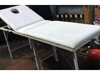 Portable beauty massage therapy table foldable white leather