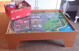 Wooden train set with play table and accessories