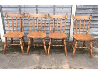 Set of 4 country style wooden chairs well made vgc solid wood