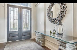 Glass top Foyer Table with Plaster Corbel Legs