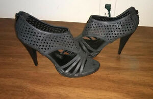 As new Ladies zie 10 black sexy open toe heels dress shoes