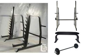 Northern Light Commercial Power Squat Rack Bench Weights Bar