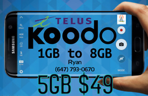 ✨ Koodo 6GB LTE $56/mo ✨ 1/2/4/5/6/8 GB UNLIMITED CANADA Plans ✨