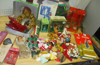 vintage Christmas lot, candles, ornaments, tree toppers, cookie