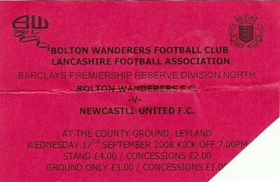 Ticket - Bolton Wanderers Reserves v Newcastle United Reserves 17.09.08
