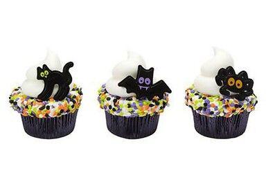 Cat Cupcakes Halloween (Halloween Party Cat Bat Spider cupcake rings (24) favor cake topper 2)