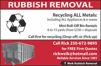 Rubbish / Recycling Bin Rentals (Louis Creek/Barriere/McLure)