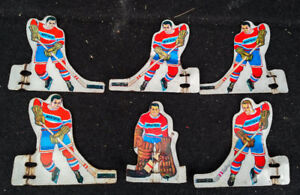 6 Vintage MUNRO Tin Table Top Hockey Players MONTREAL CANADIENS
