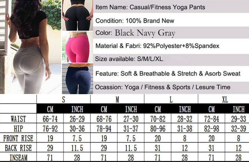 Damen Leggings Yoga Hose Push Up Anti Cellulite Kompression Fitness H¨¹fte Hosen