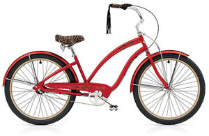 """Electra Bicycle """"Red Betty"""" with front wicker basket"""