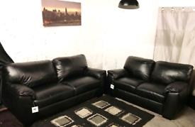 Π Ex display black real leather 3+2 seater sofas