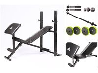 Adidas essential 2 In 1 Barbell Preacher Ab Bench with 50kg cast iron weights (brand new & boxed)