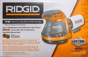 *NEW*RIGID 18-Volt 5 inch Cordless Random Orbit Sander Hand Palm