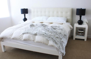 Double Grid-Tufted Leather Ivory Bed with Mattress + Box Spring