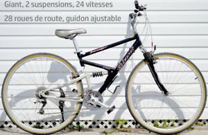 Giant, velo hybrid, suspension, 24 vitesses, 28po roues