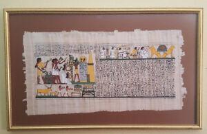 Cadre avec Papyrus d'origine Egyptien peint à la main