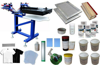3 Color 1 Station Screen Printing Press Bundle Micro-registration Floor Type New