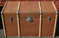 2 Vintage Wood Tin Wrapped Trunks