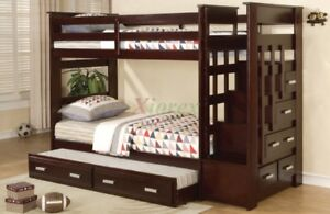 Twin Bunk Bed with Stairs and Trundle Bed in Espresso