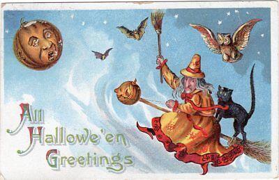 GOTTSCHALK DREYFUSS & DAVIS HALLOWEEN SERIES #914, WITCH AND CAT RIDING BROOM.](Davis Halloween)