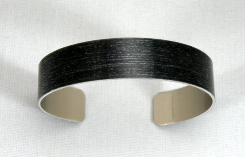 "Black Anodized Aluminum Cuff Bracelet Blanks, 1/2"" x 6"", one dozen"